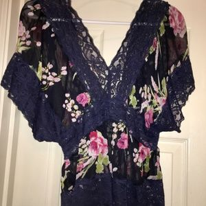 Navy Flower Sheer Lace Top